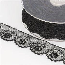 Tulle brodé fleurs 32mm noir au mètre