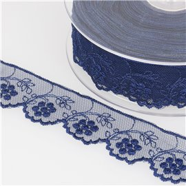 Tulle brodé fleurs 32mm bleu marine au mètre