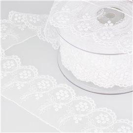 Tulle brodé fleurs 52mm blanc au mètre