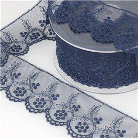 Tulle brodé fleurs 52mm bleu marine au mètre