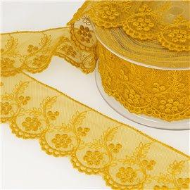 Tulle brodé fleurs 52mm jaune moutarde au mètre