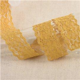 Dentelle élastique fleurs 25mm moutarde au mètre