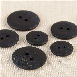 Lot de 6 boutons ronds 2 trous copeaux 15mm Noir