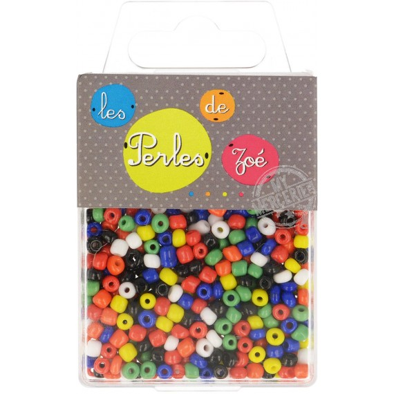 Perles de verre 6/0 multicolores en boîte de 40g