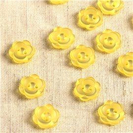 Lot de 6 boutons 2 trous fleur 13mm jaune
