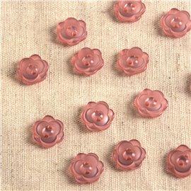 Lot de 6 boutons 2 trous fleur 13mm rose