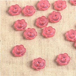 Lot de 6 boutons 2 trous fleur 13mm Fuchsia