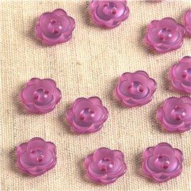 Lot de 6 boutons 2 trous fleur 13mm lilas