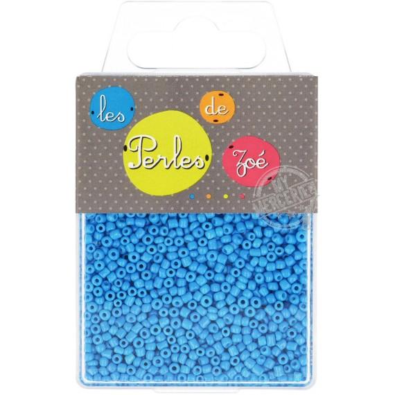 Perles de verre 12/0 bleue fluo boite de 40g