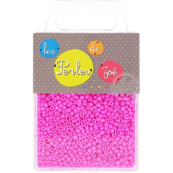 Perles de verre 12/0 rose fluo boite de 40g