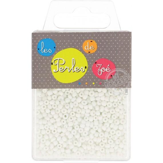 Perles de verre 8/0 blanches boite de 40g