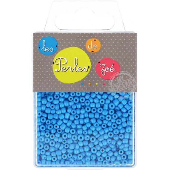 Perles de verre 8/0 bleue fluo boite de 40g
