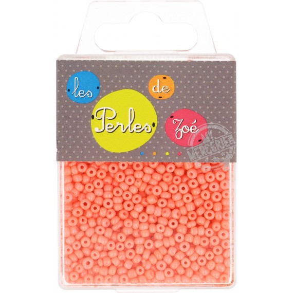 Perles de verre 8/0 orange fluo boite de 40g