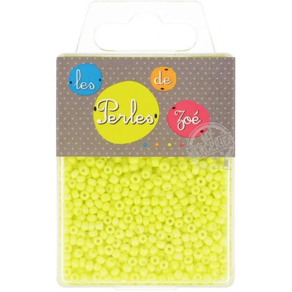 Perles de verre 8/0 jaune fluo boite de 40g