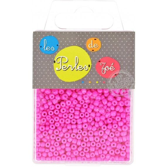 Perles de verre 8/0 rose fluo boite de 40g