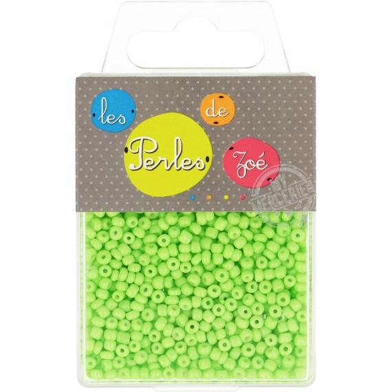 Perles de verre 8/0 vert fluo boite de 40g