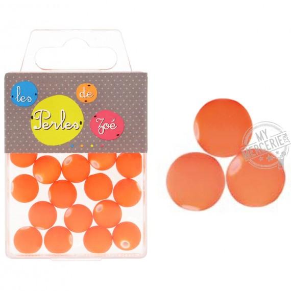 Perles plastiques orange fluo 12mm en boite de 18g