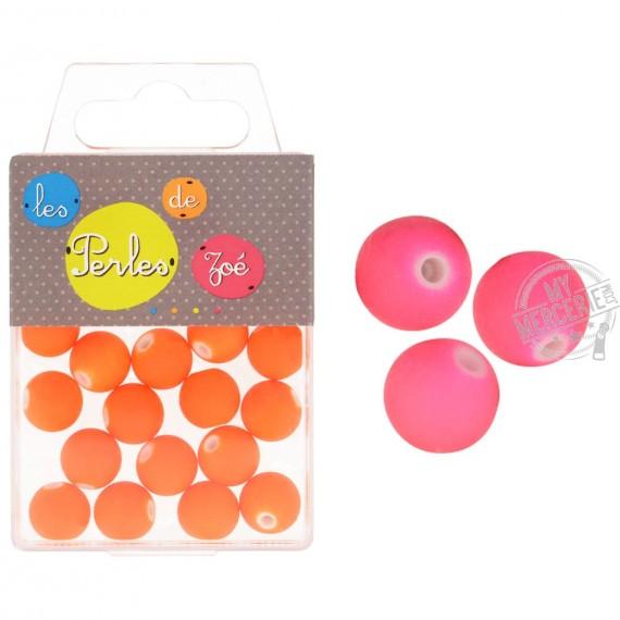 Perles plastiques rose fluo 12mm en boite de 18g