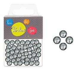 Perles rondes gris foncé 8mm - boite de 16g