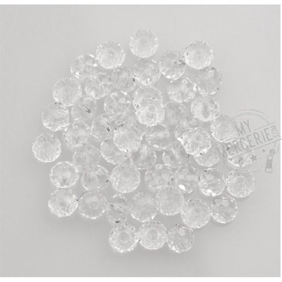 """Perles facettes """"cristal"""" en verre transparent - boite de 50 perles"""