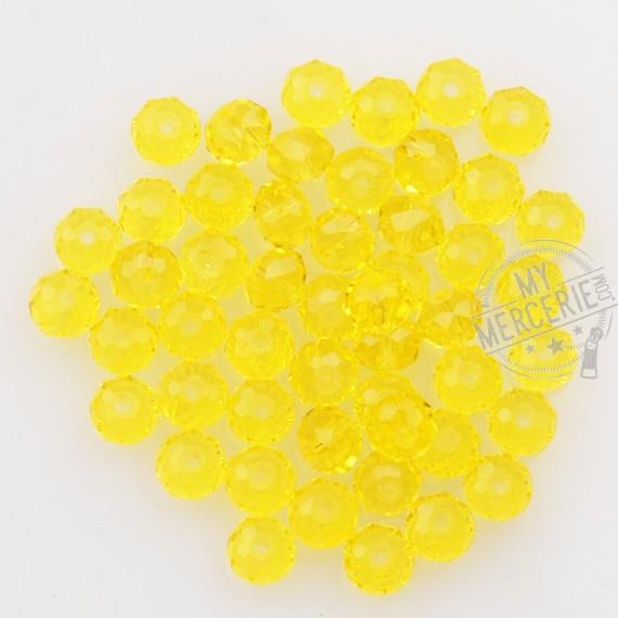 """Perles facettes """"cristal"""" en verre jaune - boite de 50 perles"""