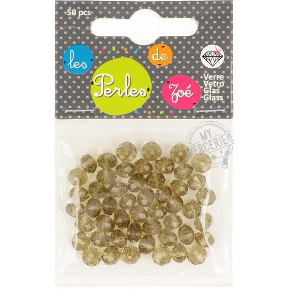 """Perles facettes """"cristal"""" en verre gris - boite de 50 perles"""