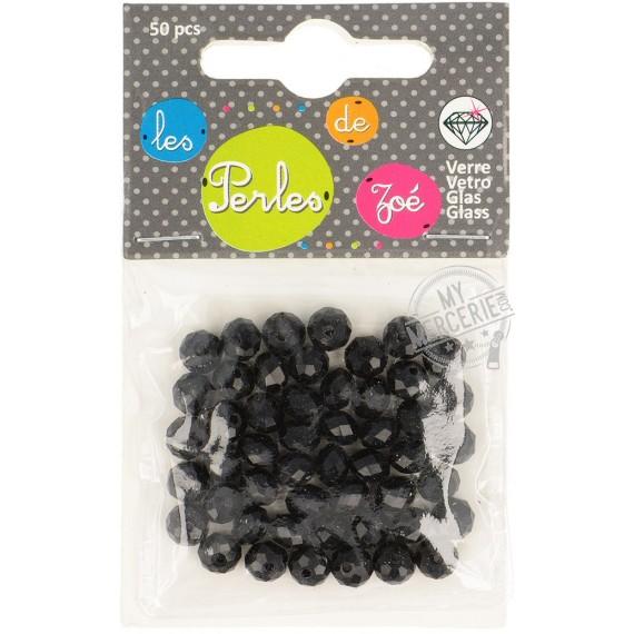 """Perles facettes """"cristal"""" en verre noir - boite de 50 perles"""