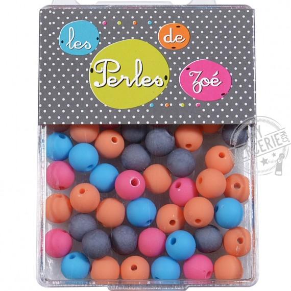 Perles plastiques couleurs foncées 8mm en boite de 16g