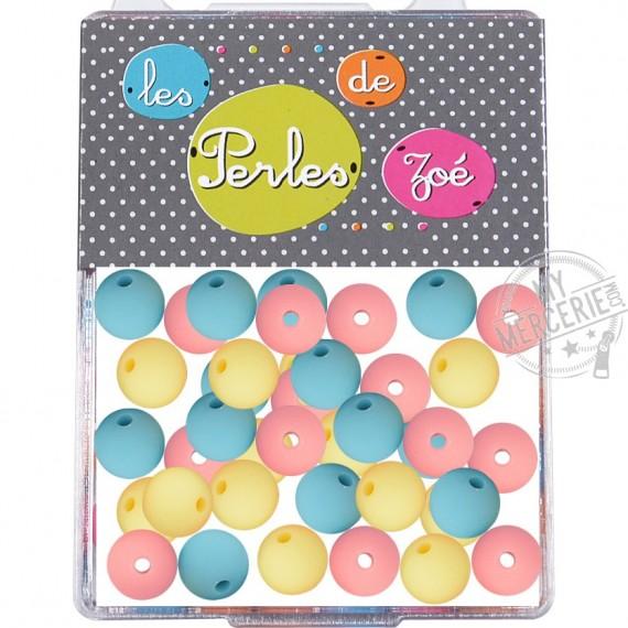 Perles plastiques couleurs claires 8mm en boite de 16g