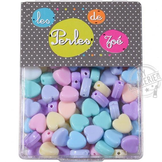 Perles plastiques cœur 8mm en boite de 20g