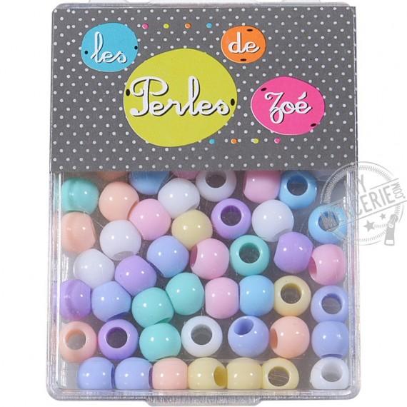 Perles plastiques rondes 6x8mm en boite de 13g