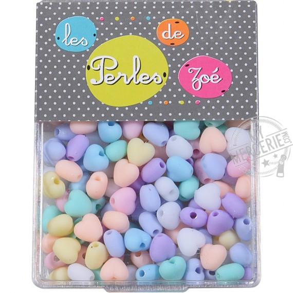Perles plastiques cœur 7mm en boite de 18g