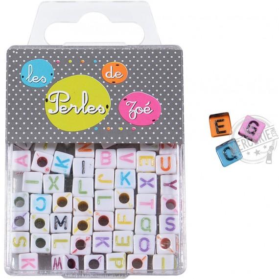 Perles plastiques lettre colorée 6mm en boite de 17g
