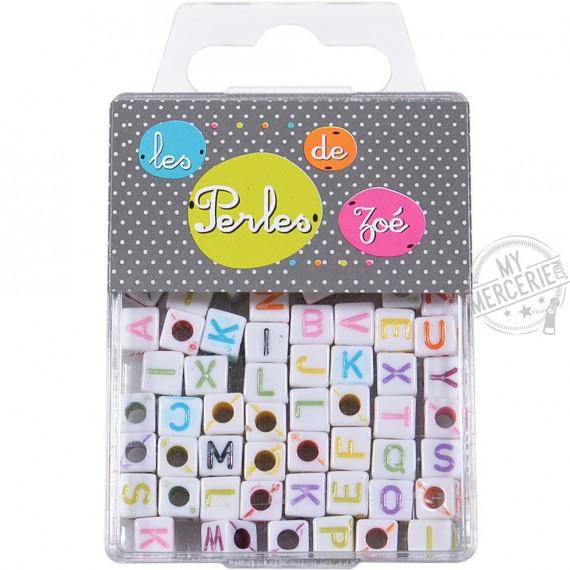 Perles plastiques lettre blanche 6mm en boite de 17g
