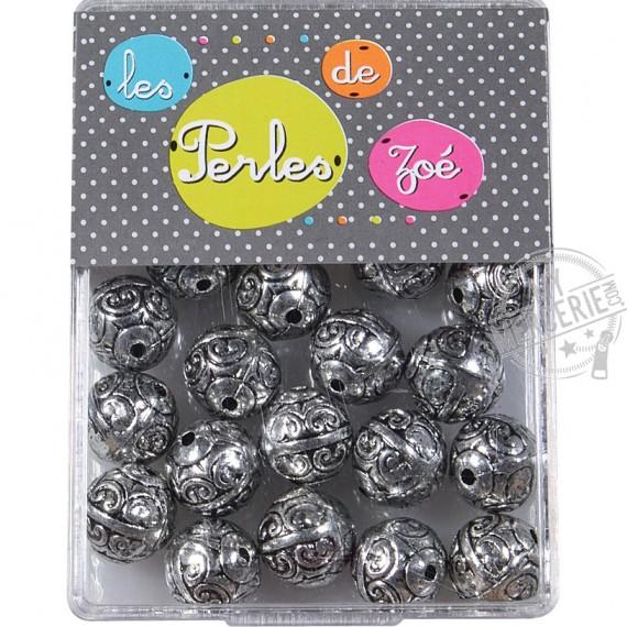 Perles rondes argent 11mm en boite de 20g
