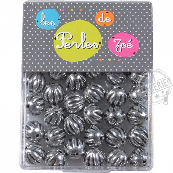 Perles rondes argent 12mm en boite de 20g