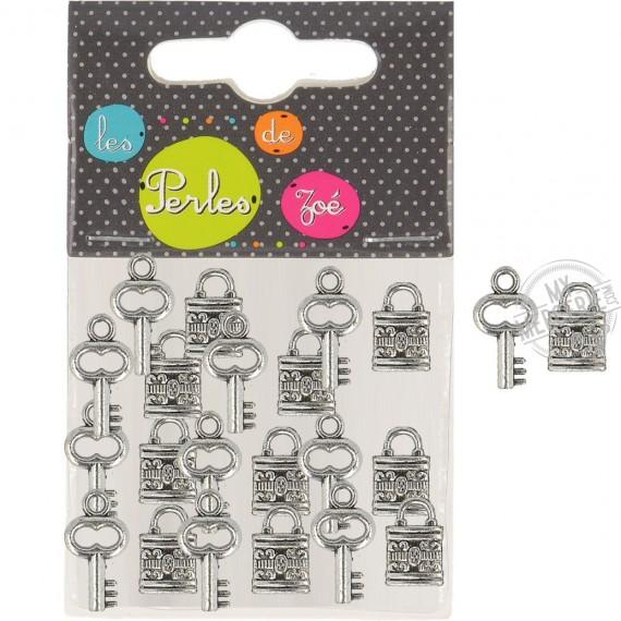 10 ensembles breloques cadenas + clés