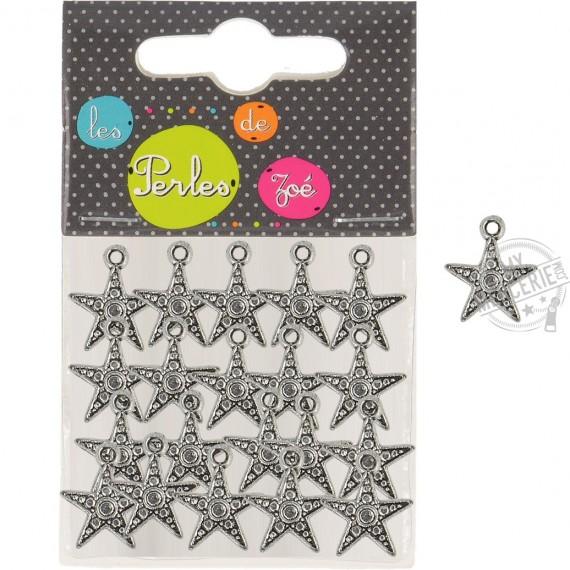 20 breloques plastiques étoiles