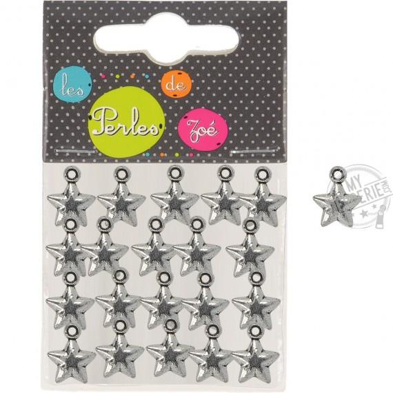 20 breloques plastiques étoiles bombées