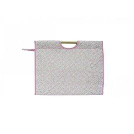 Sac à tricot en tissu matelassé 42cm liberty rose