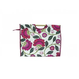 Sac à tricot en tissu matelassé 42cm grosses fleurs roses