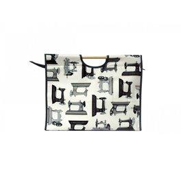 Sac à tricot en tissu matelassé 42cm machine à coudre noir et blanc