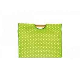 Sac à tricot en tissu matelassé 42cm pois verts