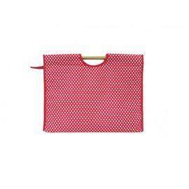 Sac à tricot en tissu matelassé 42cm pois rouges