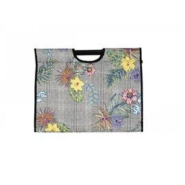 Sac à tricot en tissu matelassé 42cm imprimé fleurs tropicales