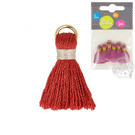 Lot de 6 mini pompons 2cm rouge