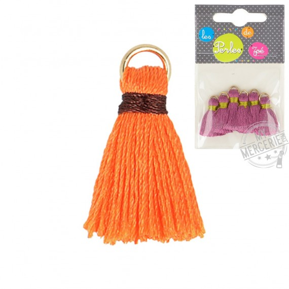 Lot de 6 mini pompons 2cm orange