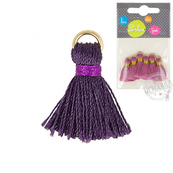 Lot de 6 mini pompons 2cm violet