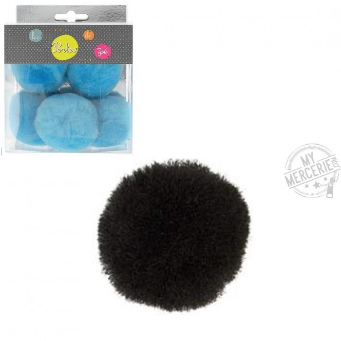 Lot de 5 petits pompons 5cm Noir