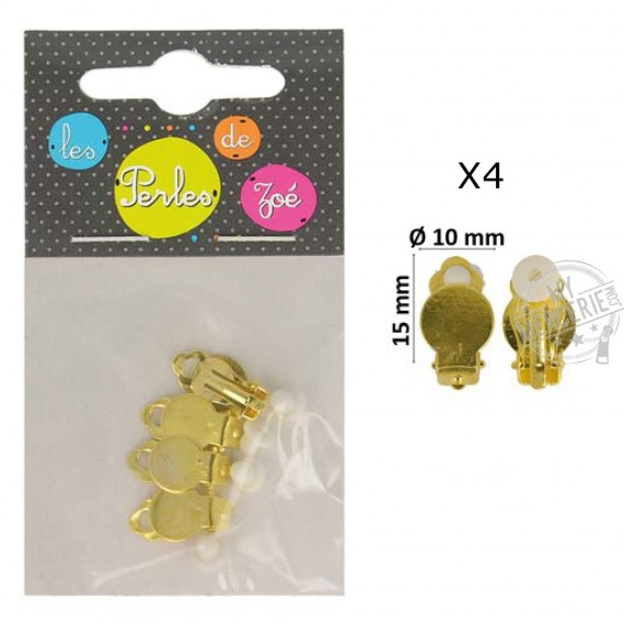 Set de 4 Clips oreilles en métal 10mm Or